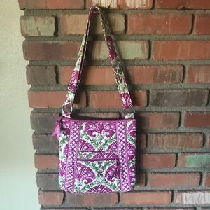 Vera Bradley Floral Fuchsia Green Shoulder Bag
